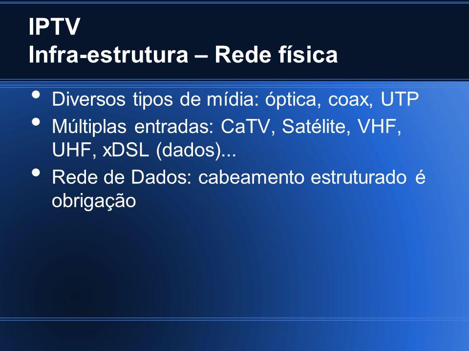 IPTV Infra-estrutura – Rede física Diversos tipos de mídia: óptica, coax, UTP Múltiplas entradas: CaTV, Satélite, VHF, UHF, xDSL (dados)...