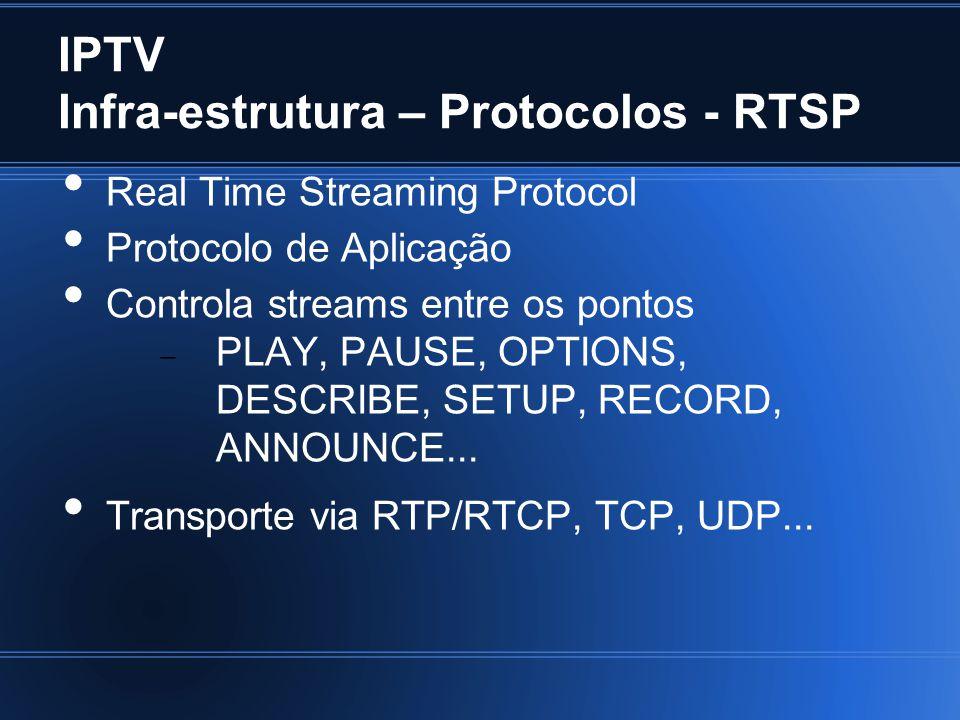 IPTV Infra-estrutura – Protocolos - RTSP Real Time Streaming Protocol Protocolo de Aplicação Controla streams entre os pontos PLAY, PAUSE, OPTIONS, DESCRIBE, SETUP, RECORD, ANNOUNCE...
