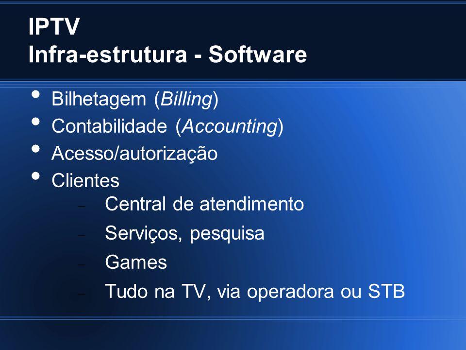 IPTV Infra-estrutura - Software Bilhetagem (Billing) Contabilidade (Accounting) Acesso/autorização Clientes Central de atendimento Serviços, pesquisa