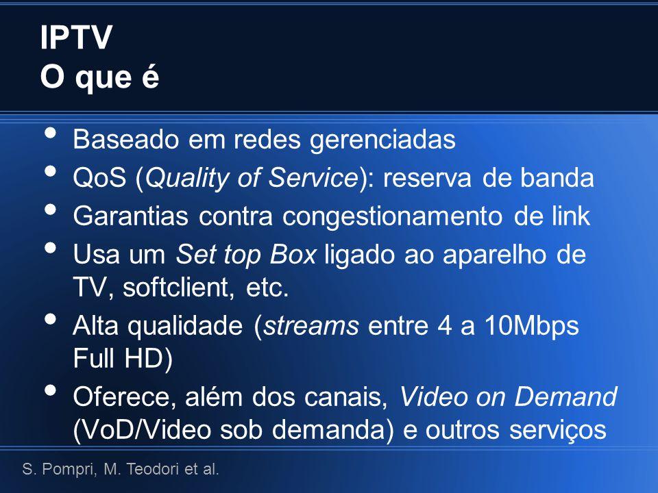 IPTV O que é Baseado em redes gerenciadas QoS (Quality of Service): reserva de banda Garantias contra congestionamento de link Usa um Set top Box ligado ao aparelho de TV, softclient, etc.