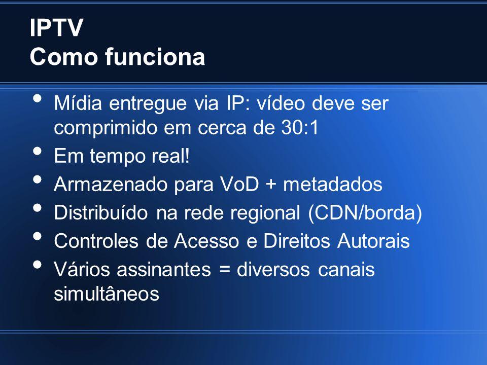 IPTV Compressão de Vídeo Full HD: 1920x1080, 24 bits de cor 49766400 bits ou 6075 KB/frame 182250 KB/s HD: 1280x720, 24 bits de cor 2700 KB/frame ou 81 MB/s SD: 720x480, 16 bits de cor 675 KB/frame ou 20 MB/s