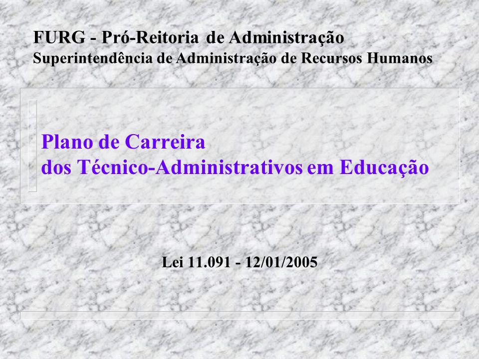 FURG - PCTAE n A Lei 11.091, de 12/01/2005, dispõe o Plano de Carreira dos Cargos Técnico-Administrativos em Educação (PCTAE), no âmbito das Instituições Federais de Ensino (Universidades e CEFETs).