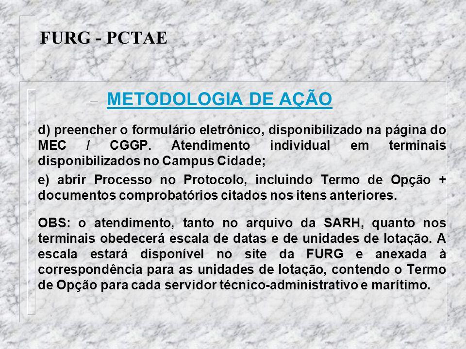 FURG - PCTAE – METODOLOGIA DE AÇÃO d) preencher o formulário eletrônico, disponibilizado na página do MEC / CGGP. Atendimento individual em terminais