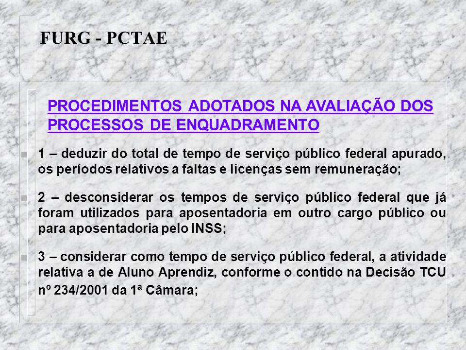 FURG - PCTAE n 1 – deduzir do total de tempo de serviço público federal apurado, os períodos relativos a faltas e licenças sem remuneração; n 2 – desc