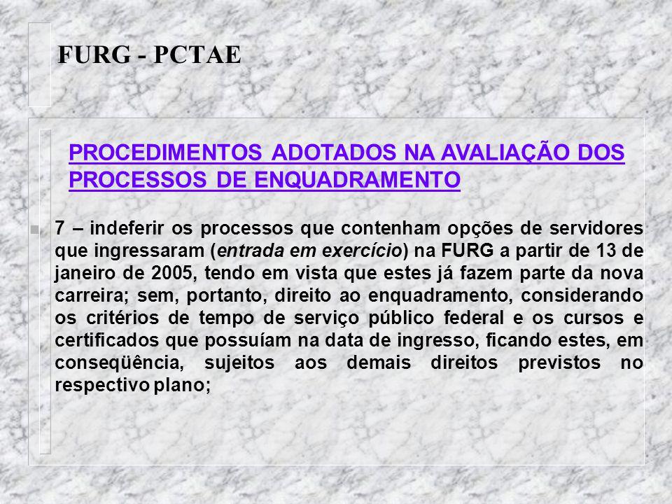 FURG - PCTAE n 7 – indeferir os processos que contenham opções de servidores que ingressaram (entrada em exercício) na FURG a partir de 13 de janeiro