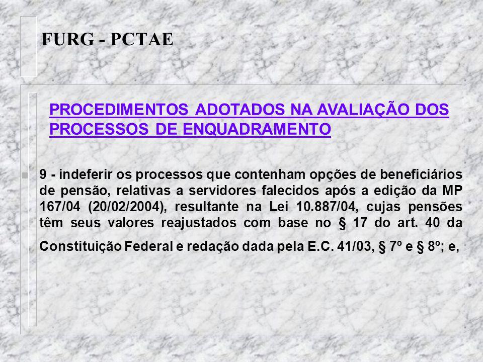 FURG - PCTAE n 9 - indeferir os processos que contenham opções de beneficiários de pensão, relativas a servidores falecidos após a edição da MP 167/04