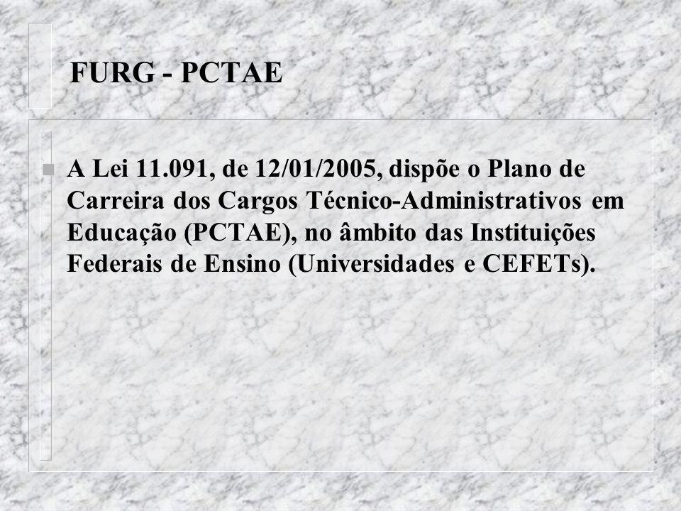 FURG - PCTAE n 4 – considerar como tempo de serviço público federal, para fins do enquadramento previsto na Lei 11.091/05, aquele exercido em órgãos públicos federais da administração direta, indireta ou fundacional, incluindo-se as empresas estatais e outros, tais como: ALCANORTE, Conselhos Regionais de Corretores de Imóveis, CRN, EBCT, IBDF, IBAMA, 5º DN, RFFSA, Rede Federal de Armazéns Gerais Ferroviários S/A e SUDEPE.