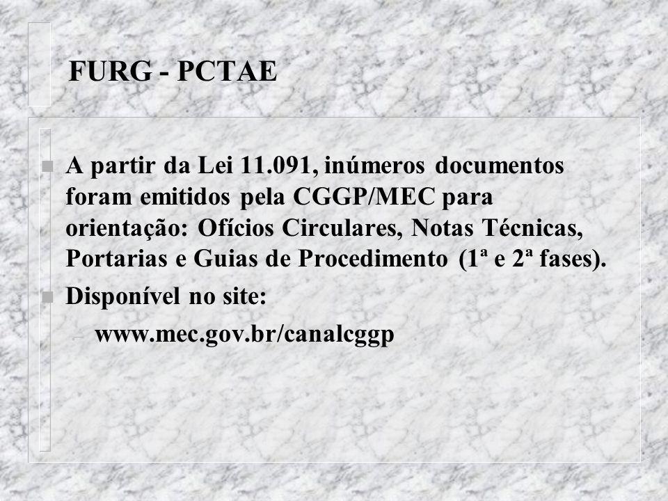 FURG - PCTAE n A partir da Lei 11.091, inúmeros documentos foram emitidos pela CGGP/MEC para orientação: Ofícios Circulares, Notas Técnicas, Portarias