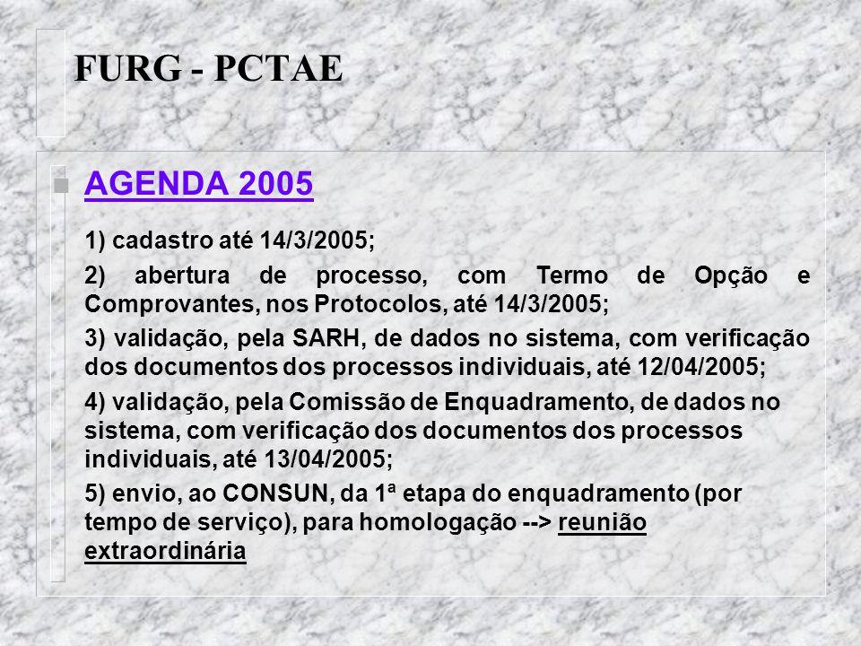 FURG - PCTAE n 7 – indeferir os processos que contenham opções de servidores que ingressaram (entrada em exercício) na FURG a partir de 13 de janeiro de 2005, tendo em vista que estes já fazem parte da nova carreira; sem, portanto, direito ao enquadramento, considerando os critérios de tempo de serviço público federal e os cursos e certificados que possuíam na data de ingresso, ficando estes, em conseqüência, sujeitos aos demais direitos previstos no respectivo plano; PROCEDIMENTOS ADOTADOS NA AVALIAÇÃO DOS PROCESSOS DE ENQUADRAMENTO