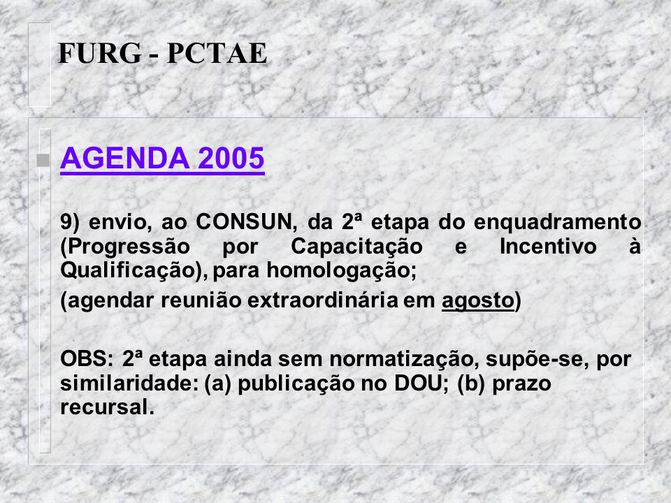 FURG - PCTAE n AGENDA 2005-2006 1) Plano de Desenvolvimento Institucional (PDI) contemplará um Plano de Desenvolvimento dos integrantes do PCTAE; 2) Plano de Desenvolvimento dos integrantes do PCTAE (cujas Diretrizes Nacionais serão publicadas no decorrer de 2005) deve conter: a)dimensionamento das necessidades de pessoal, com base em modelo de alocação de vagas – 2° semestre de 2005; b)programa de capacitação e aperfeiçoamento – início de 2006; c)programa de avaliação de desempenho – 2º trimestre de 2006.