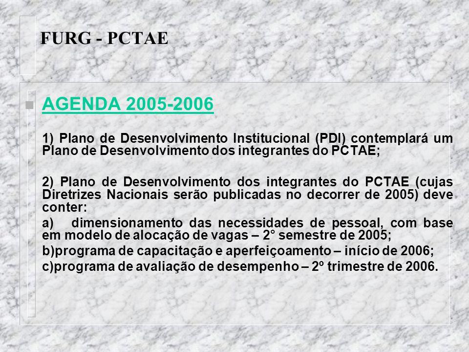 FURG - PCTAE n AGENDA 2005-2006 1) Plano de Desenvolvimento Institucional (PDI) contemplará um Plano de Desenvolvimento dos integrantes do PCTAE; 2) P