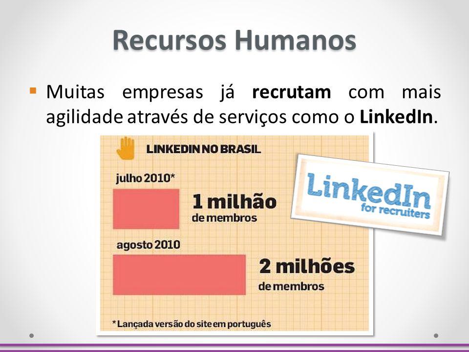 Recursos Humanos Muitas empresas já recrutam com mais agilidade através de serviços como o LinkedIn.