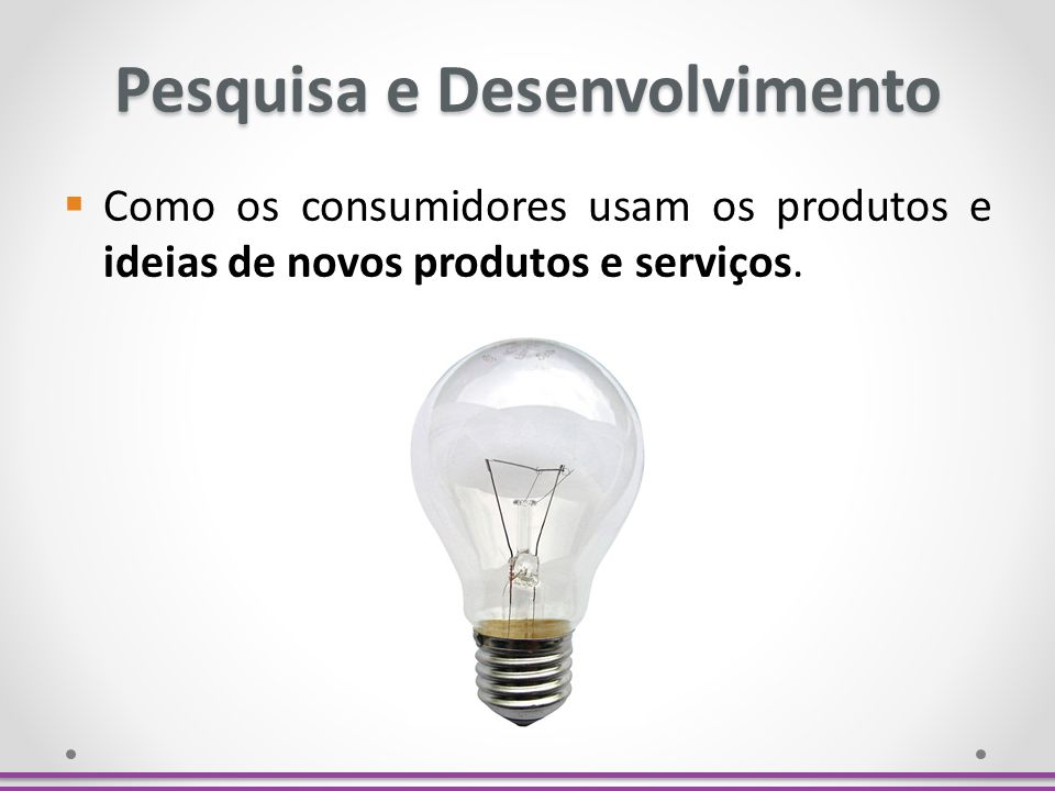 Pesquisa e Desenvolvimento Como os consumidores usam os produtos e ideias de novos produtos e serviços.