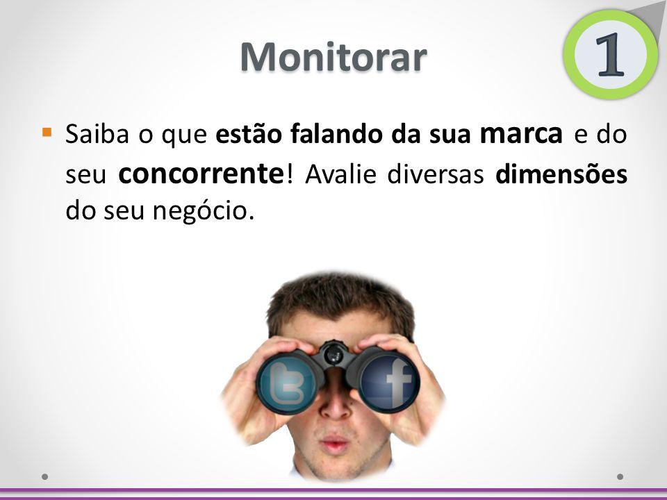 Monitorar Saiba o que estão falando da sua marca e do seu concorrente ! Avalie diversas dimensões do seu negócio.