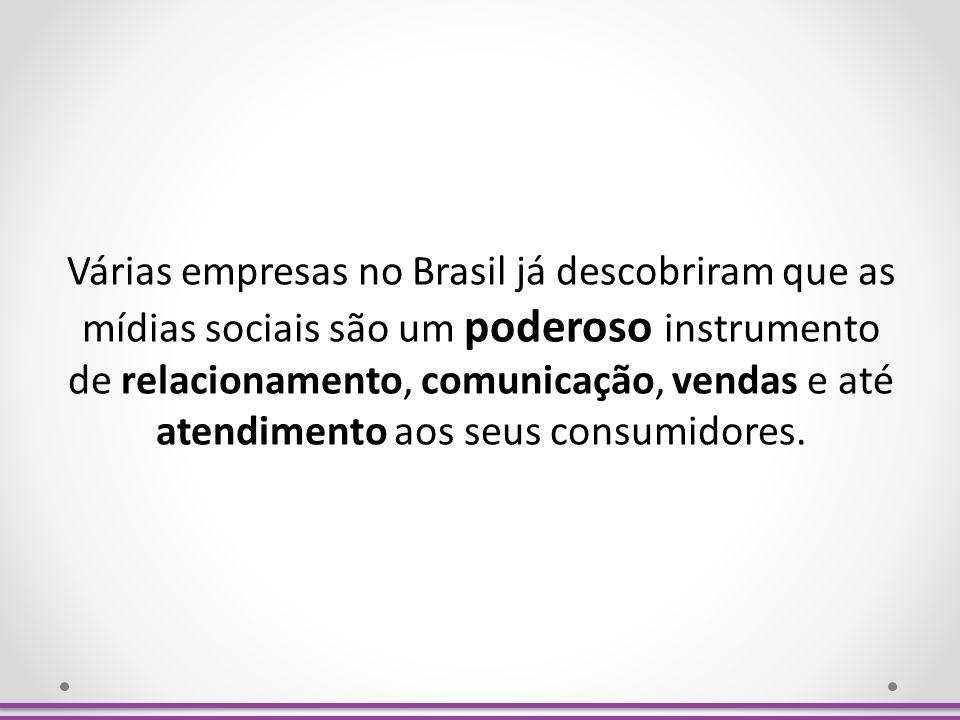 Várias empresas no Brasil já descobriram que as mídias sociais são um poderoso instrumento de relacionamento, comunicação, vendas e até atendimento ao