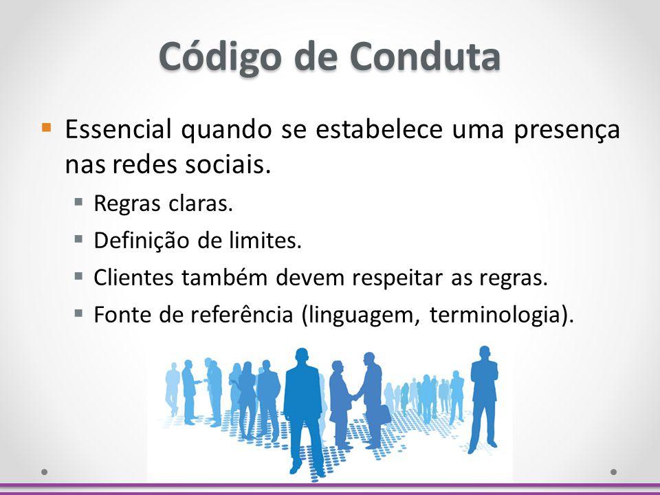 Código de Conduta Essencial quando se estabelece uma presença nas redes sociais. Regras claras. Definição de limites. Clientes também devem respeitar