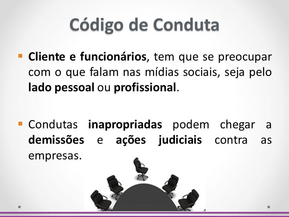 Código de Conduta Cliente e funcionários, tem que se preocupar com o que falam nas mídias sociais, seja pelo lado pessoal ou profissional. Condutas in