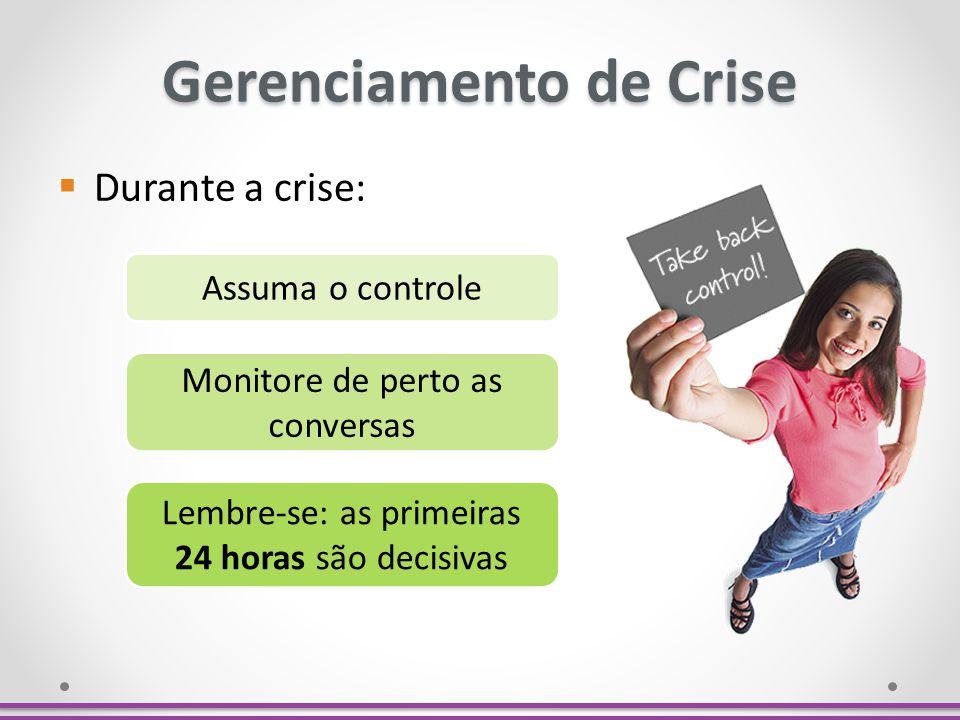 Gerenciamento de Crise Assuma o controle Monitore de perto as conversas Lembre-se: as primeiras 24 horas são decisivas Durante a crise: