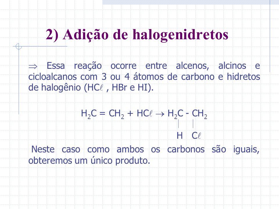 2) Adição de halogenidretos Essa reação ocorre entre alcenos, alcinos e cicloalcanos com 3 ou 4 átomos de carbono e hidretos de halogênio (HC, HBr e H