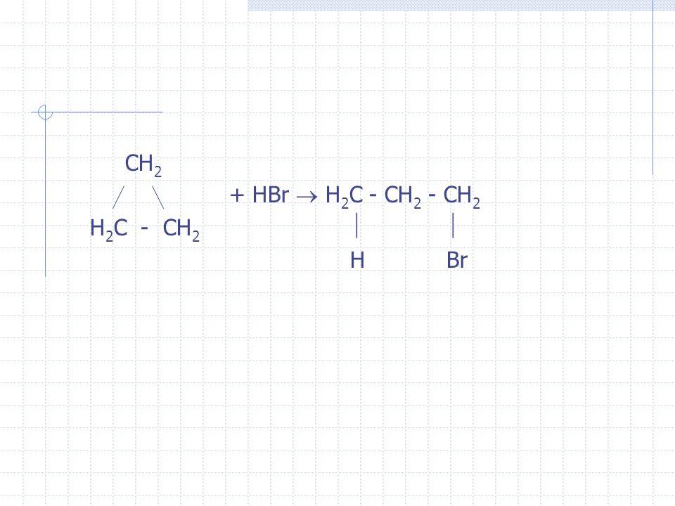 CH 2 + HBr H 2 C - CH 2 - CH 2 H 2 C - CH 2 H Br