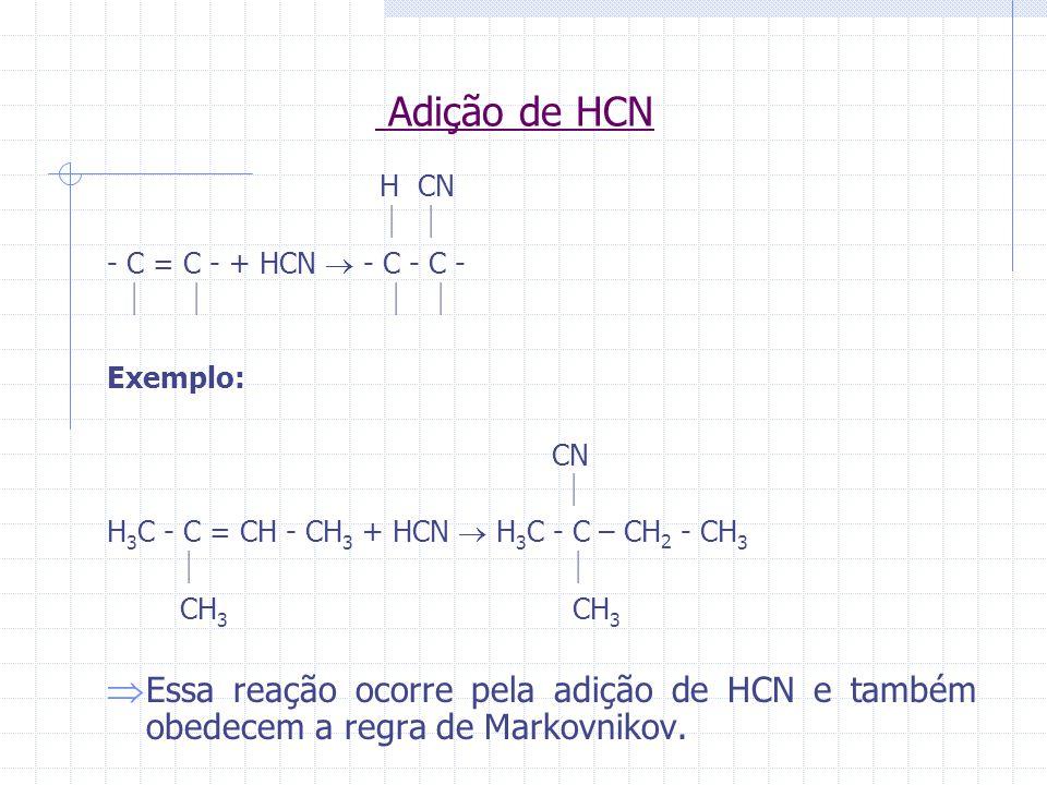 Adição de HCN H CN - C = C - + HCN - C - C - Exemplo: CN H 3 C - C = CH - CH 3 + HCN H 3 C - C – CH 2 - CH 3 CH 3 CH 3 Essa reação ocorre pela adição