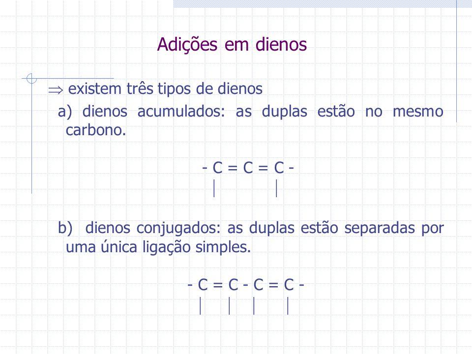 Adições em dienos existem três tipos de dienos a) dienos acumulados: as duplas estão no mesmo carbono. - C = C = C - b) dienos conjugados: as duplas e