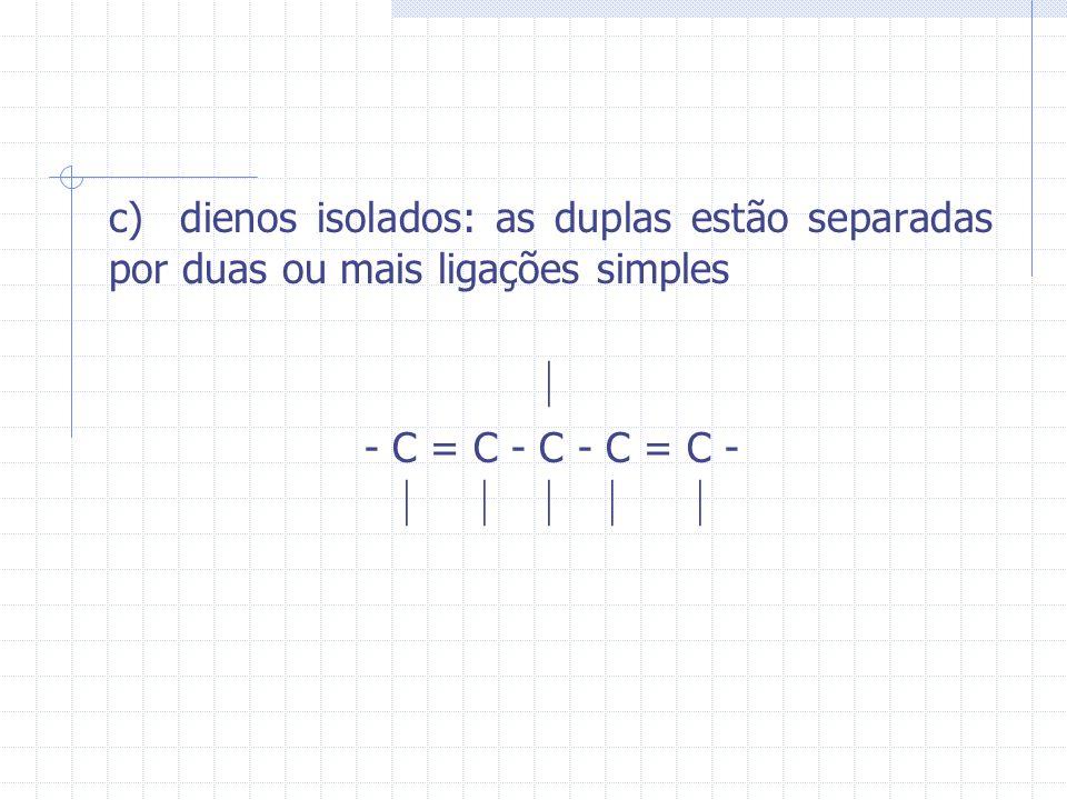 c) dienos isolados: as duplas estão separadas por duas ou mais ligações simples - C = C - C - C = C -
