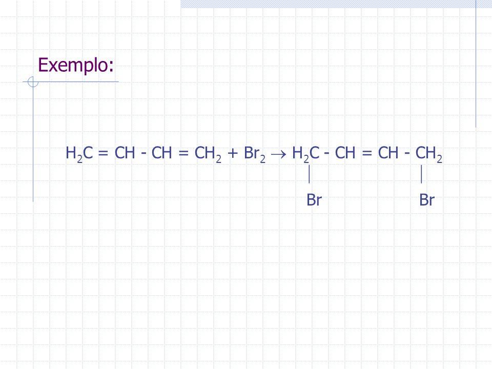 Exemplo: H 2 C = CH - CH = CH 2 + Br 2 H 2 C - CH = CH - CH 2 Br Br