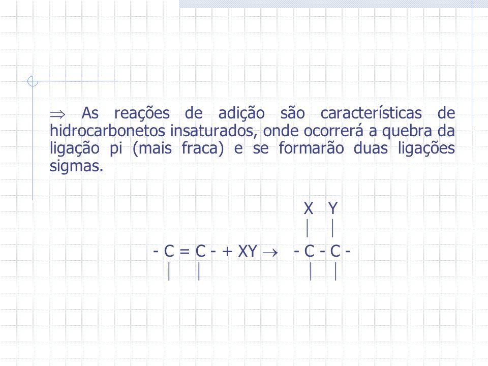 As reações de adição são características de hidrocarbonetos insaturados, onde ocorrerá a quebra da ligação pi (mais fraca) e se formarão duas ligações