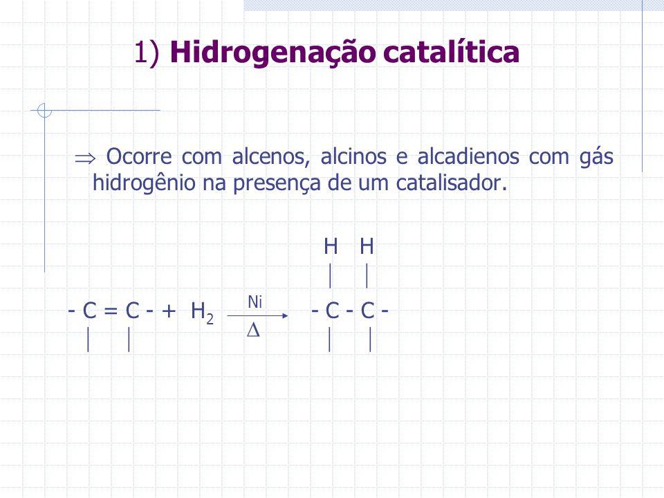 1) Hidrogenação catalítica Ocorre com alcenos, alcinos e alcadienos com gás hidrogênio na presença de um catalisador. H H - C = C - + H 2 - C - C - Ni