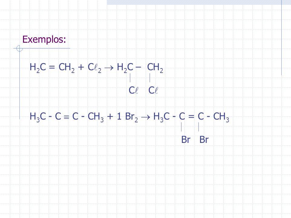 Exemplos: H 2 C = CH 2 + C 2 H 2 C – CH 2 C C H 3 C - C C - CH 3 + 1 Br 2 H 3 C - C = C - CH 3 Br Br