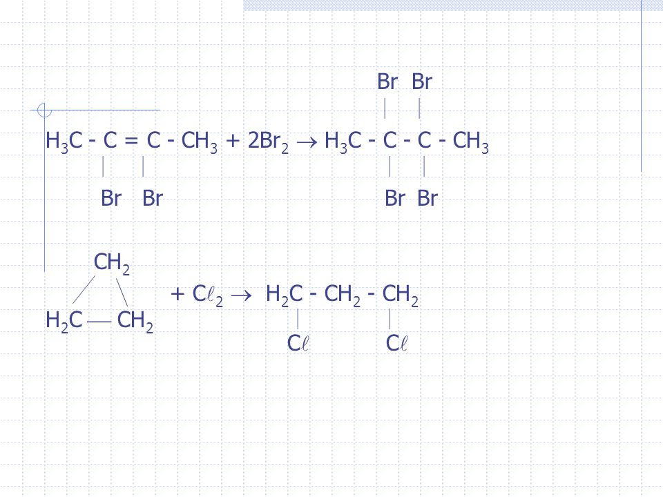 Br Br H 3 C - C = C - CH 3 + 2Br 2 H 3 C - C - C - CH 3 Br Br Br Br CH 2 + C 2 H 2 C - CH 2 - CH 2 H 2 C CH 2 C