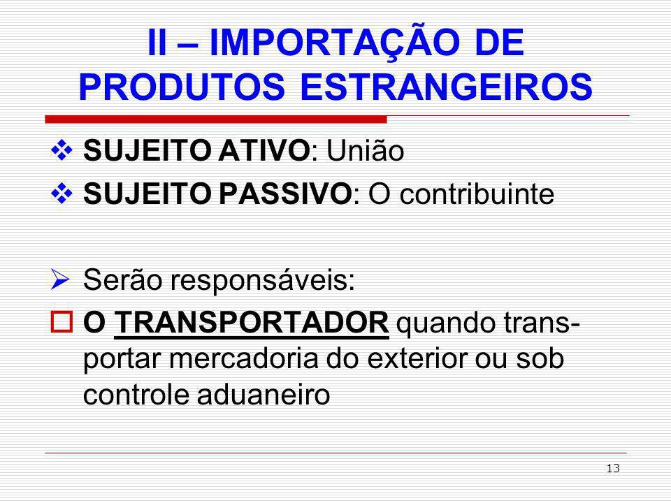 14 II – IMPORTAÇÃO DE PRODUTOS ESTRANGEIROS DEPOSITÁRIO – qualquer pessoa que ficar incumbida pela depósito da mercadoria.