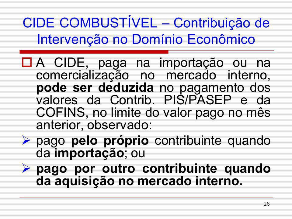 29 CIDE COMBUSTÍVEL – Contribuição de Intervenção no Domínio Econômico Divisão da CIDE Combustível: ESTADOS - 29% - para aplicação no financiamento de programas de infra- estrutura de transportes.
