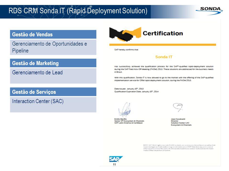 RDS CRM Sonda IT (Rapid Deployment Solution) Gestão de Vendas Gerenciamento de Oportunidades e Pipeline Gestão de Marketing Gerenciamento de Lead Gest