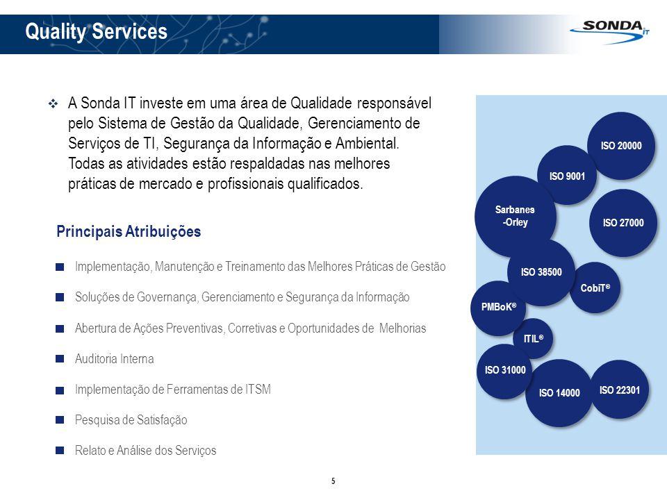 5 Quality Services Implementação de Ferramentas de ITSM Abertura de Ações Preventivas, Corretivas e Oportunidades de Melhorias A Sonda IT investe em uma área de Qualidade responsável pelo Sistema de Gestão da Qualidade, Gerenciamento de Serviços de TI, Segurança da Informação e Ambiental.