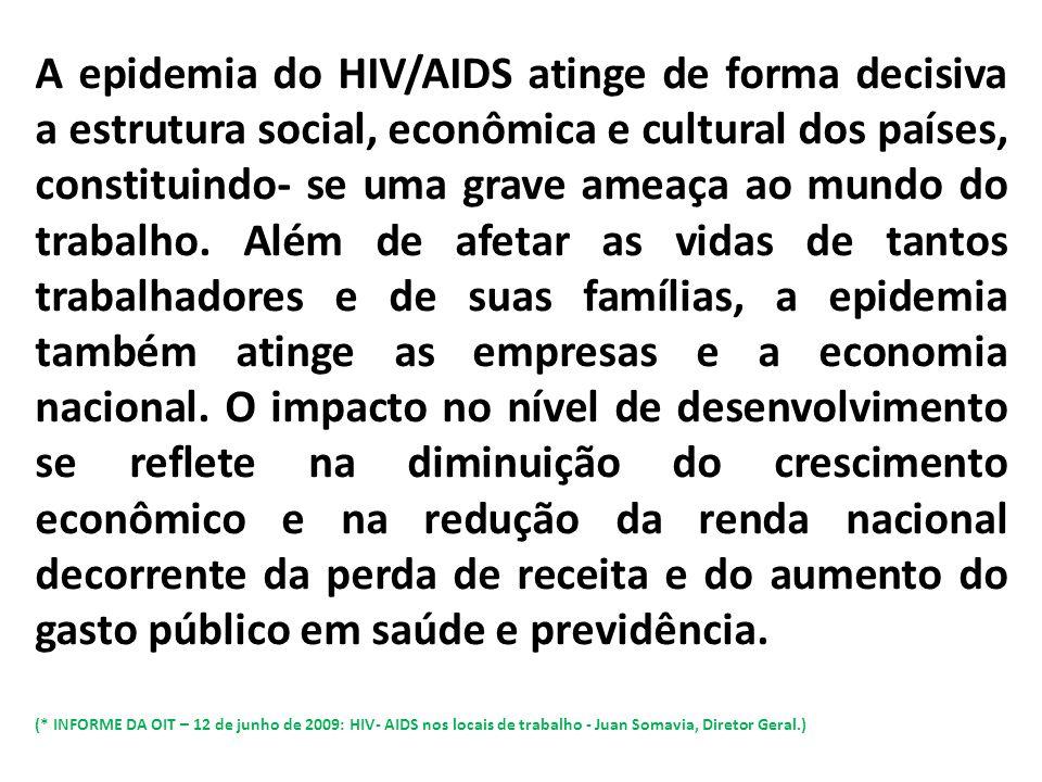A epidemia do HIV/AIDS atinge de forma decisiva a estrutura social, econômica e cultural dos países, constituindo- se uma grave ameaça ao mundo do tra