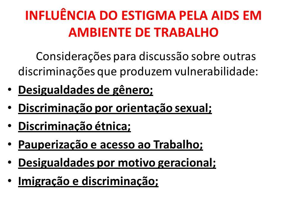 INFLUÊNCIA DO ESTIGMA PELA AIDS EM AMBIENTE DE TRABALHO Considerações para discussão sobre outras discriminações que produzem vulnerabilidade: Desigua