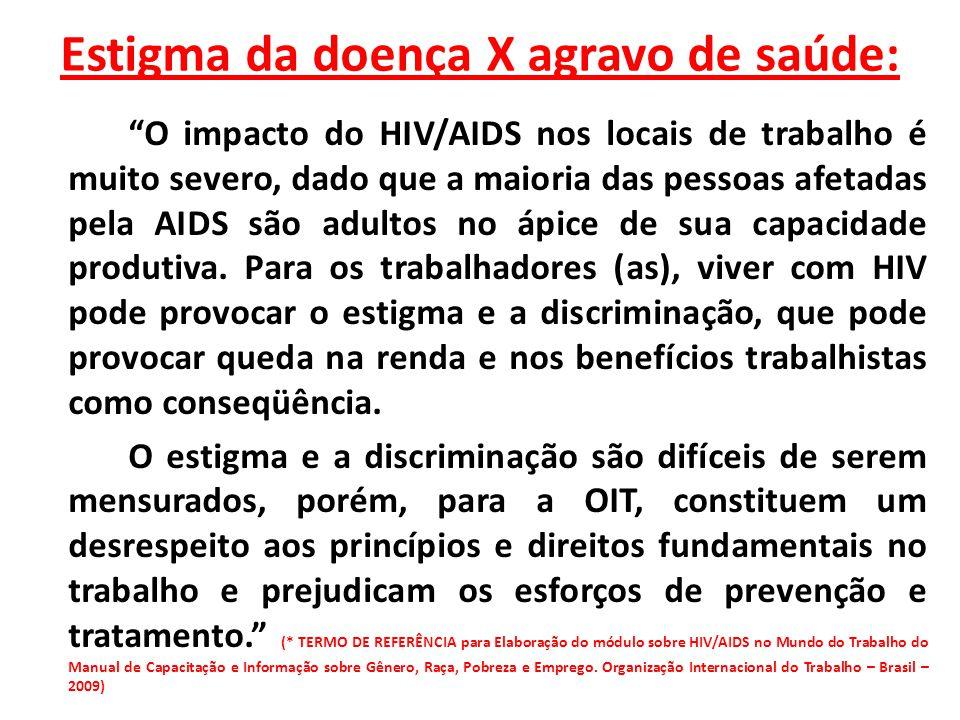 Estigma da doença X agravo de saúde: O impacto do HIV/AIDS nos locais de trabalho é muito severo, dado que a maioria das pessoas afetadas pela AIDS sã
