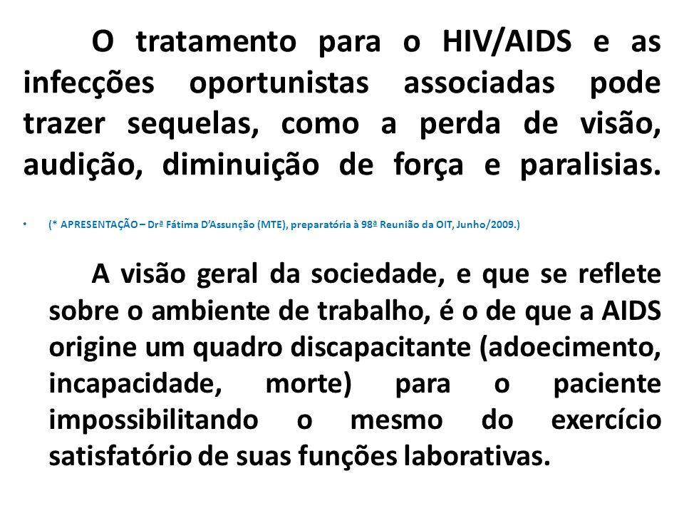 O tratamento para o HIV/AIDS e as infecções oportunistas associadas pode trazer sequelas, como a perda de visão, audição, diminuição de força e parali