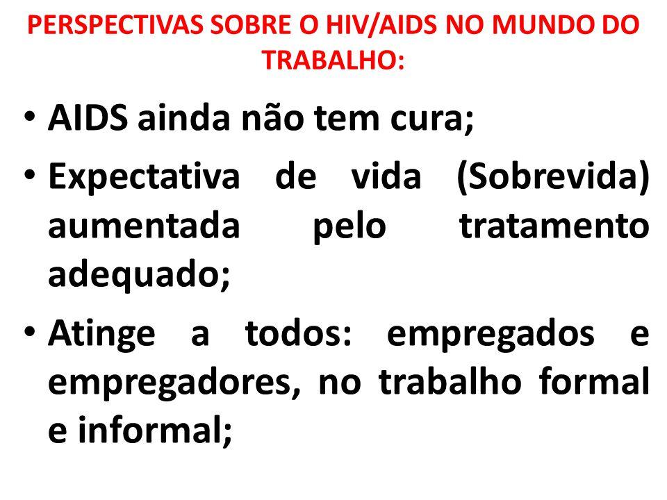 PERSPECTIVAS SOBRE O HIV/AIDS NO MUNDO DO TRABALHO: AIDS ainda não tem cura; Expectativa de vida (Sobrevida) aumentada pelo tratamento adequado; Ating