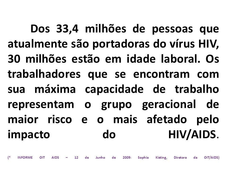 Dos 33,4 milhões de pessoas que atualmente são portadoras do vírus HIV, 30 milhões estão em idade laboral. Os trabalhadores que se encontram com sua m