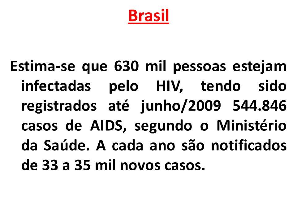 Brasil Estima-se que 630 mil pessoas estejam infectadas pelo HIV, tendo sido registrados até junho/2009 544.846 casos de AIDS, segundo o Ministério da
