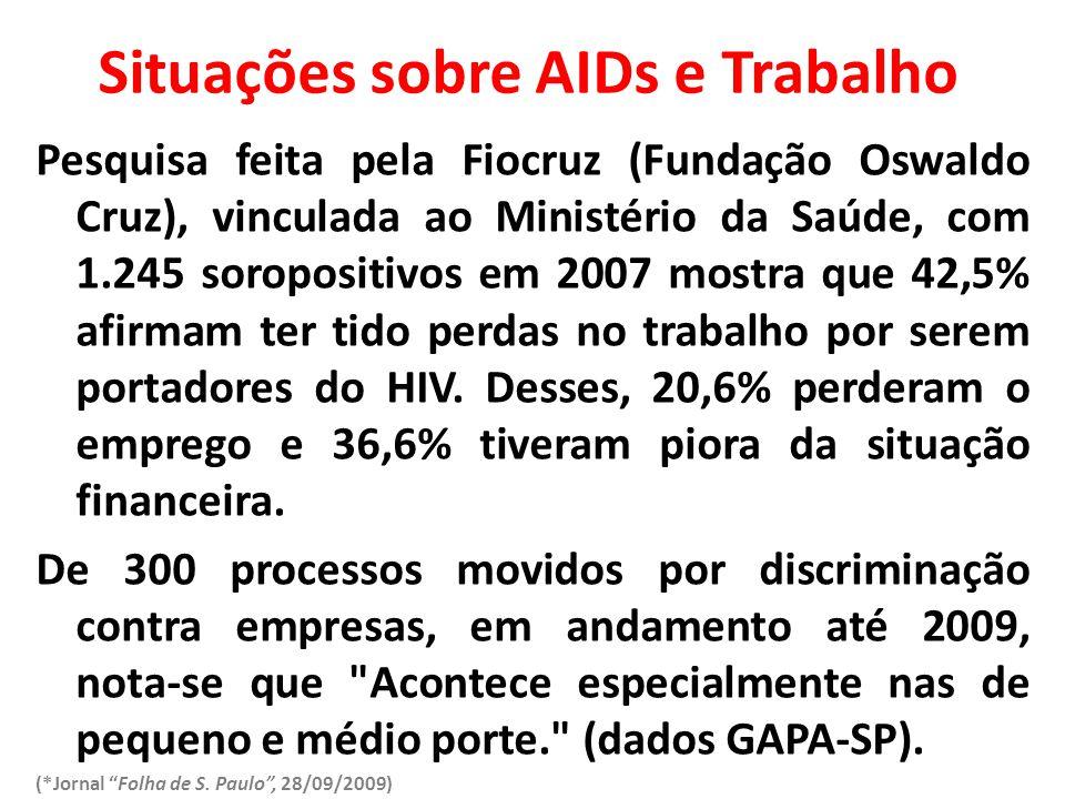 Situações sobre AIDs e Trabalho Pesquisa feita pela Fiocruz (Fundação Oswaldo Cruz), vinculada ao Ministério da Saúde, com 1.245 soropositivos em 2007