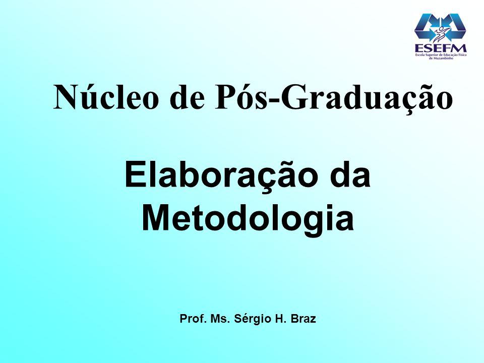 Núcleo de Pós-Graduação Elaboração da Metodologia Prof. Ms. Sérgio H. Braz