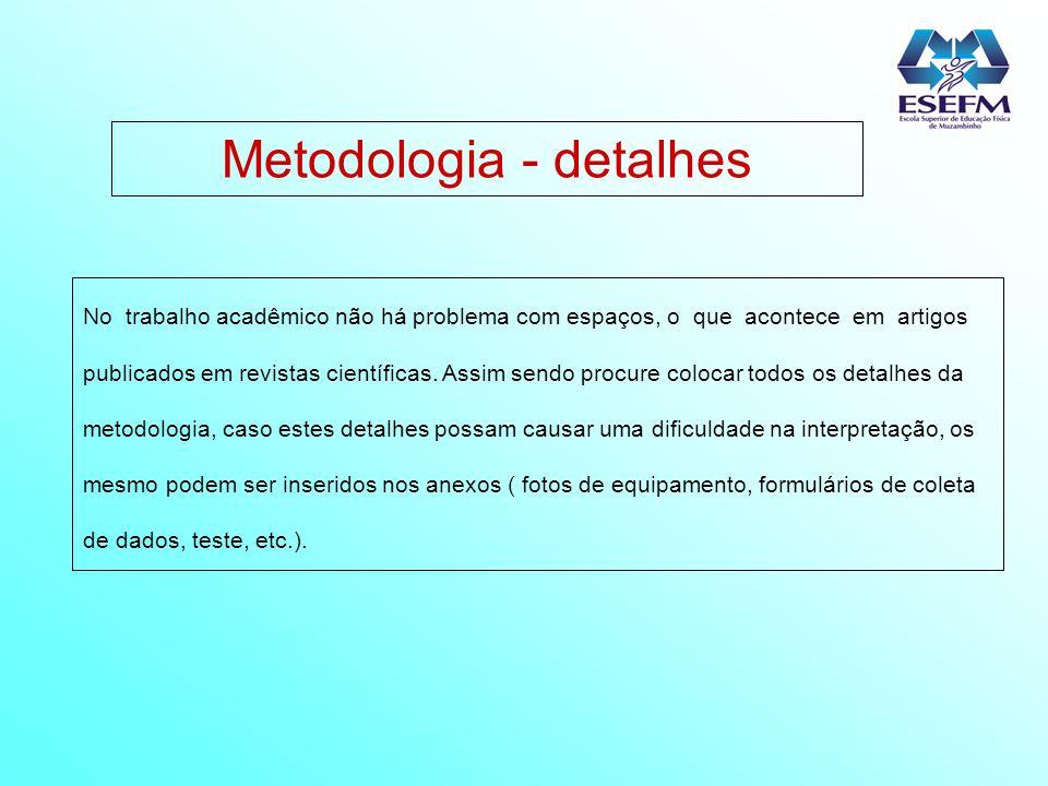 Metodologia - detalhes No trabalho acadêmico não há problema com espaços, o que acontece em artigos publicados em revistas científicas. Assim sendo pr