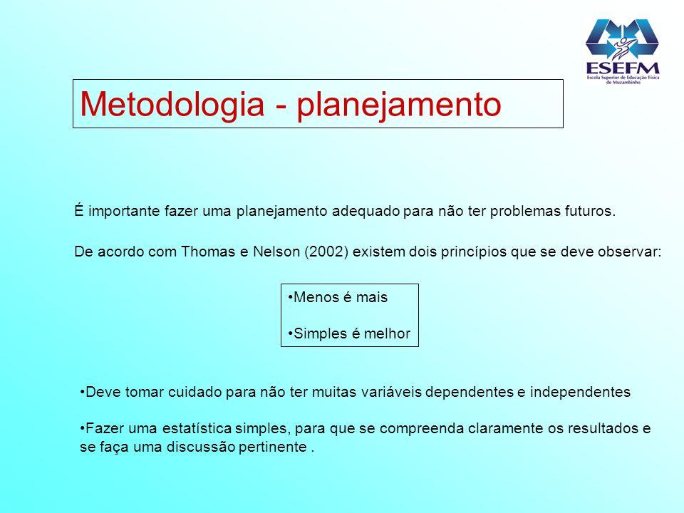 Metodologia - planejamento É importante fazer uma planejamento adequado para não ter problemas futuros. De acordo com Thomas e Nelson (2002) existem d