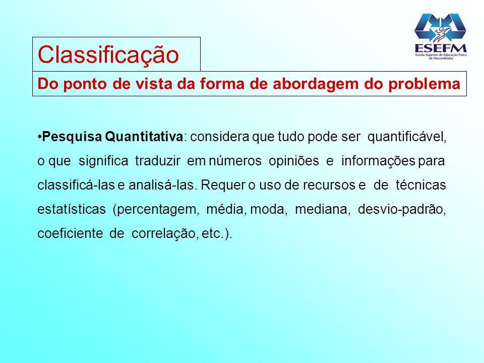 Do ponto de vista da forma de abordagem do problema Pesquisa Quantitativa: considera que tudo pode ser quantificável, o que significa traduzir em núme