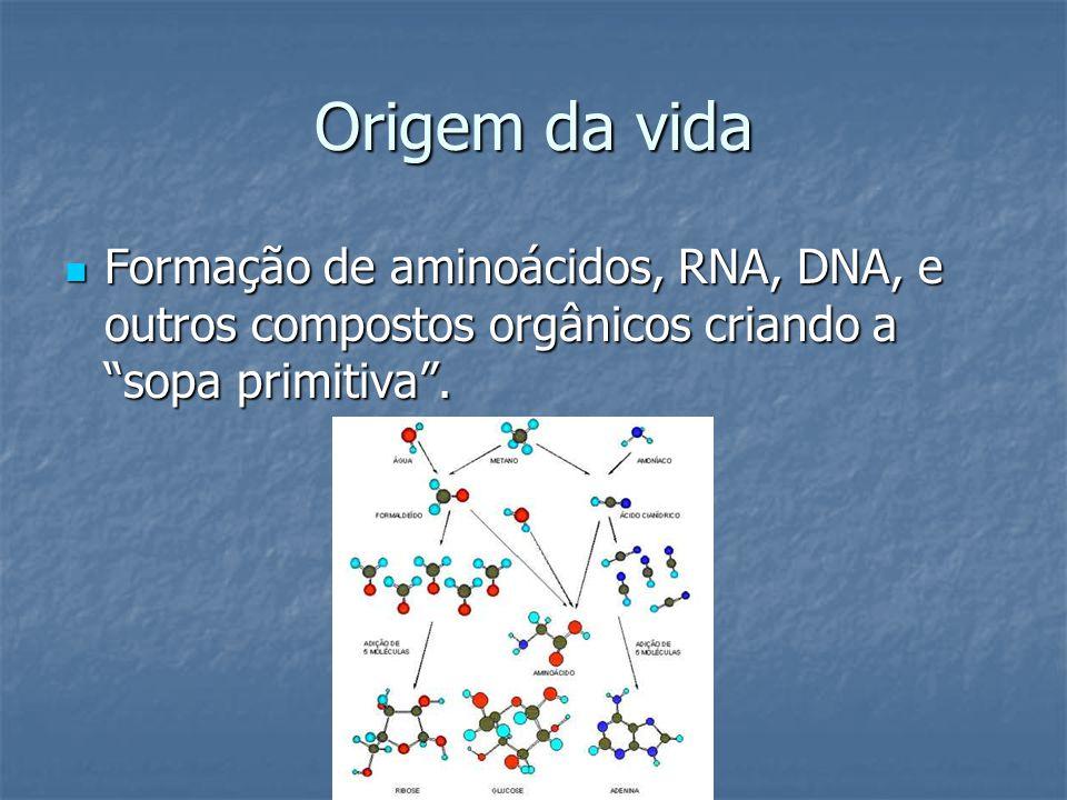 Origem da vida Formação de aminoácidos, RNA, DNA, e outros compostos orgânicos criando a sopa primitiva. Formação de aminoácidos, RNA, DNA, e outros c