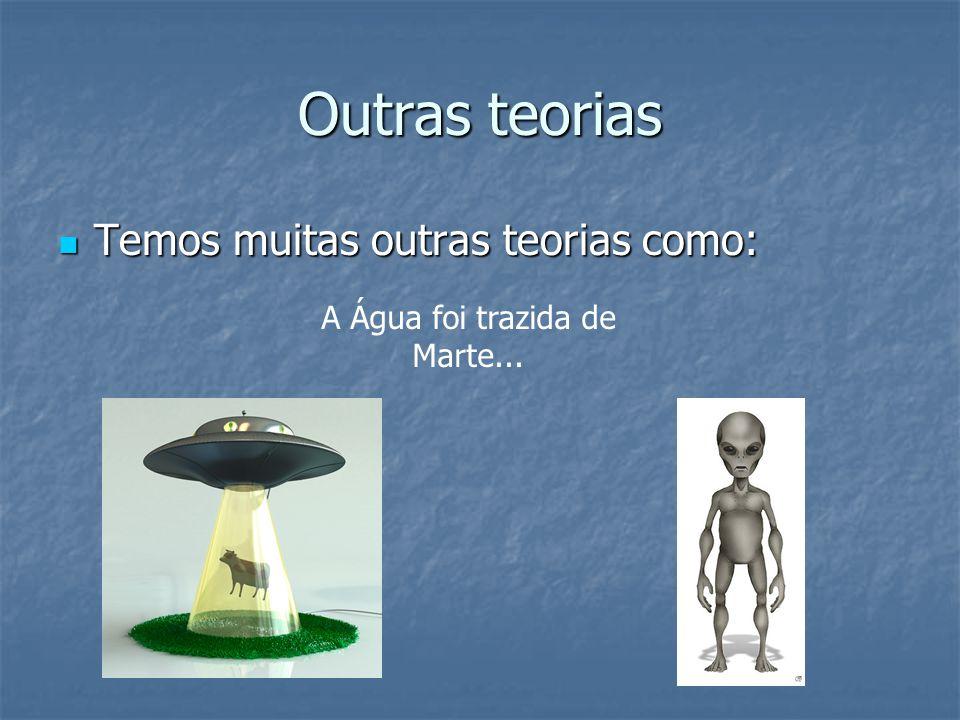 Outras teorias Temos muitas outras teorias como: Temos muitas outras teorias como: A Água foi trazida de Marte...